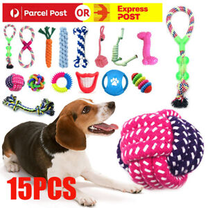 15pc Dog Rope Toys Nolsen Pet Puppy Chew Toy Gift Set Durable Cotton Clean Teeth