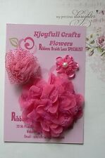 HANDMADE 3 Mixed Flowers FUCHSIA PINK Organza Lace 35, 65 & 90mm Njoyfull Crafts