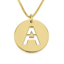 Gold Celebrity Style Circle Initial Necklace - 24k Gold Plated Personalized Disc