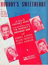 NOBODY'S SWEETHEART Music Sheet-1924-CONSTANCE MOORE-AUTOGRAPH JOHNNY GUARNIERI