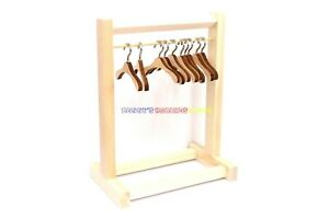 "New Wooden Furniture Clothes Shelves Rack + 5 Hanger For 1/6 12"" Action Figure"