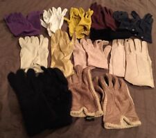 Vintage Assorted Gloves Leather Suede Stretch Fabric Knitted 11 Pairs unisex
