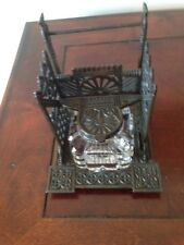 Bronze Stand and Pen Holder Handmade Crystal  Inkwell Gothic Mission