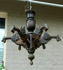 Antique wood carved Gothic castle dragon animal decor chandelier