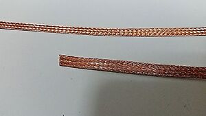 """10 Ft' Flat Braided BARE PURE Copper Wire 1/4"""" Wide Ground Strap USA"""