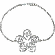Sterling Silver 925 Butterfly and Floral Bracelet 7.5""