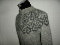 vintage Strickpullover handmade Wollpullover Islandpulli grau hippie Pullover M