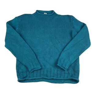 L.L. Bean Knitted Jumper Womens Green Large Silk And Cotton Open Knit Sweater