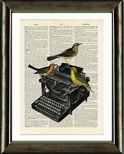 Antique Book page Art Print - Birds on a Typewriter