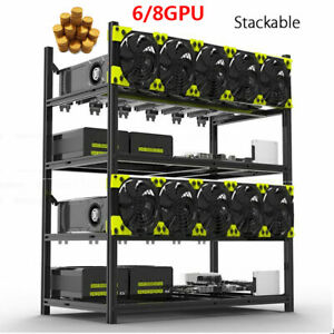 Veddha 6/8GPU Aluminum Stackable Open Air Mining Computer Frame Rig Ethereum BTC