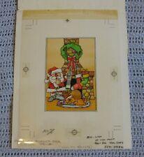 Vintage Christmas Card Original Art Work Proof Cleo 1989 Cute Santa by Fireplace