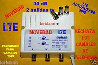 AMPLIFICADOR DE ANTENA  Tv. TdT 2x30 dB  PARA INTERIOR. LTE