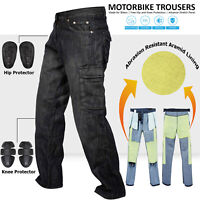 Denim Motorcycle Motorbike Work Cargo Trousers Jeans With Protection Lining BLK