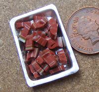 1:12 Scale Diced Steak On A Metal Tray Dolls House Miniature Delicatessen Food