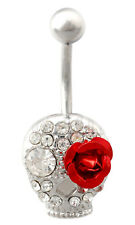 SKULL & ROSE BELLY BAR Silver Surgical Steel Horror Goth Red Navel Piercing