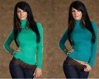 Pullover Maglia Donna Dolcevita Collo Alto LEOPARD&WRL B480 Verde Blu Tg M/L