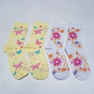 NWT! 2 Pairs Adult Socks 7-9 Size Cotton Xmas Holiday Gift Floral & Butterflies