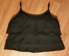 New Dress Barn Black Layered Sparkle Short Tank Top SZ L MADE IN USA!