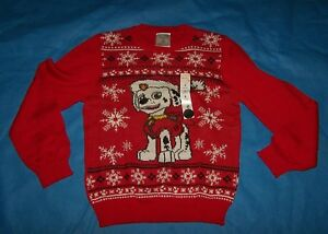 Size (8) Boys  Ugly Christmas Sweater Jumping Beans Paw Patrol Marshall
