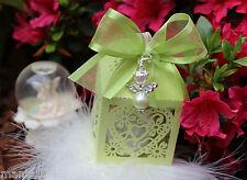 Gift for Guests Angel Pendant Heart Box Lasercut Rhinestones Wedding Communion