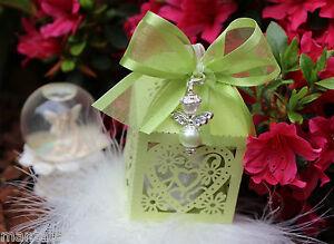 Gift For Guests Angel Pendant Heart Box Lasercut Rhinestones Wedding Christening
