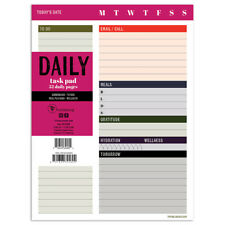 Daily Task Pad - Track Appointments, ToDos, Lists, Meals, Each DAY  - Desk Pad
