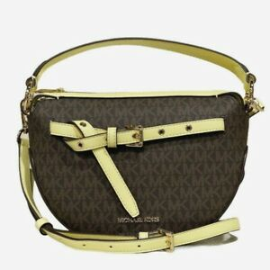New Michael Kors Emilia Half Moon crossbody Bag PVC & Leather Brown / Buttercup