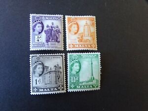 Malta - Elizabeth 1956 Mounted Mint Up To One Shilling