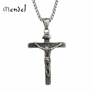 MENDEL Mens Stainless Steel Jesus Christ Crucifix Cross Pendant Necklace For Men