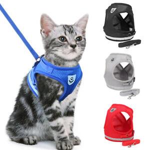 Harnais ajustable  pour chat et chien avec une laisse
