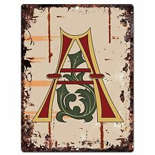 PP0509 Alphabet Medieval Initial Letter A Chic Sign Bar Shop Store Home Decor