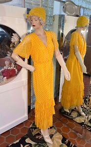 20s DRESS 30s Style & Lace Gatsby Flapper Hat Yellow Dotted Ruffle Hem size L