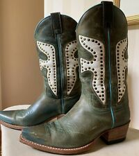 Ladies FRYE Boots Daisy Duke Green/Teal/white Leather W/ Gold Rivets Size 6.5 M