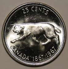 BU UNC Canada 1867-1967 centennial bobcat silver quarter 25 cent 25c