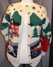 Eddie Bauer Sz M Holiday Christmas Cardigan Winter Scene Wool Vtg 1989