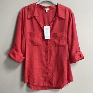 NWT Eileen Fisher Strawberry Classic Collared Shirt Size Medium