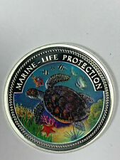 1998 Palau $5 Dollar Silver Coin w/Neptune, dolphins, Colorful Sea Turtle KM-32