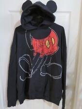 Men's Disney Parks Black Mickey Mouse Hoodie Hooded Sweatshirt Ears Size XXL 2XL