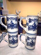 Set Of 4 Blue Delfts Heineken Beer Mugs Steins Hand Painted Made In Holland