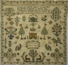 More details for mid 19th century house, motif & verse sampler by priscilla durrant aged 10 1840