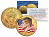Colorized * FLOWING FLAG * 2016 JFK Kennedy Half Dollar Coin 24K GOLD PLATED (D)