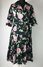 LAURA ASHLEY Size UK 10 Black Rose Print Tea Dress Vintage Inspired
