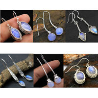 Rainbow Moonstone 925 Sterling Silver Handmade Jewelry Dangle Earring- av0005