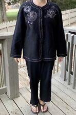 Women's Samantha Grey 100% Wool Black Blazer Embroidered Flowers Jacket Size XL