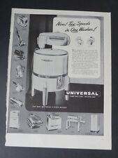 Original Print Ad 1947 UNIVERSAL Two Speeds in One Washer Vintage Art