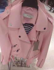 ZARA PINK LEATHER EFFECT BIKER JACKET SS17 SIZE XS (EXTRA LARGE) NEW TAGS