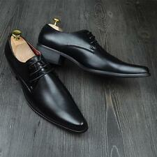 Men's Lace-Up Dress Formal Wedding Black Shoes Leather Pointed Toe Oxfords Shoes