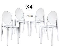 Set x 4 niches Clear Ghost Dining chair transparent Designer Modern Stylish vic
