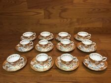 ANTIQUE CUPS AND SAUCERS (12 Sets) With FLORALS & GOLD Numbered but Unmarked