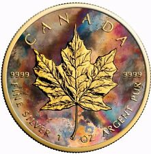 2017 1 Oz Silver Maple Leaf Aquarelle Coin.- 24K Gold Gilded With BOX AND COA.